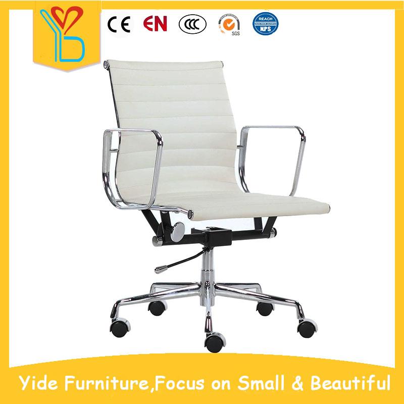 Emes classic white leather ergonomic swivel office chair ...